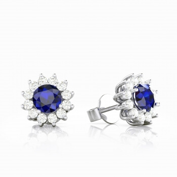 18k white gold earrings with sapphire and diamonds