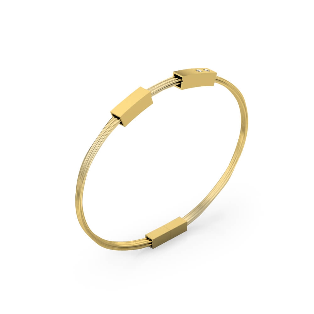 Men's bracelets 18k yellow gold with 2 diamonds