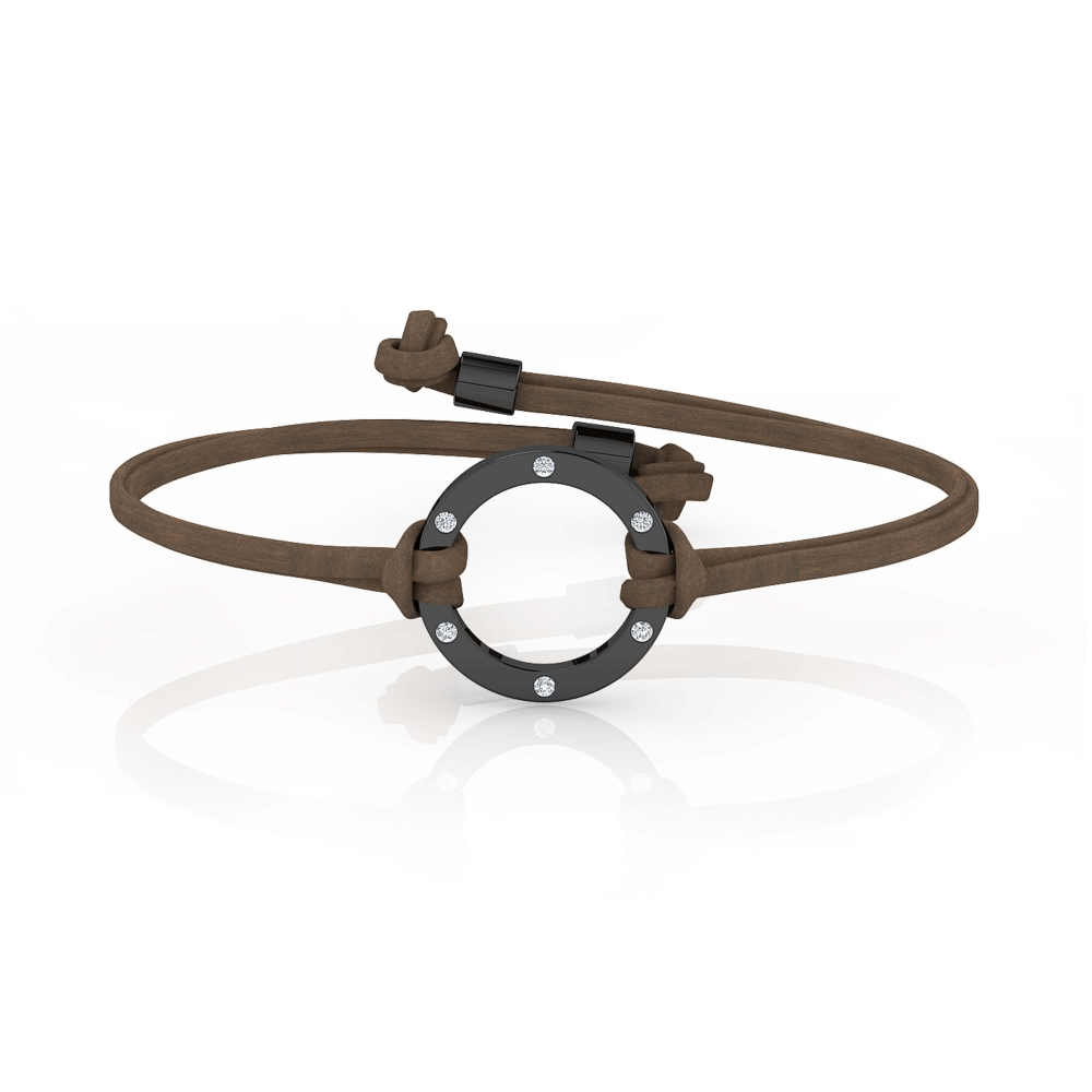 Mens bracelets | Silver Bracelet with 6 diamonds with dark brown leather lace