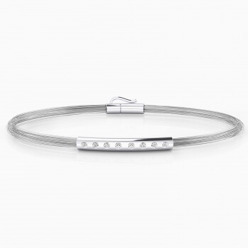 Mens bracelets. Bracelets made of silver and steel wires with 8 diamonds