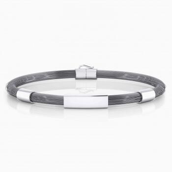 Men silver bracelet with steel wire.
