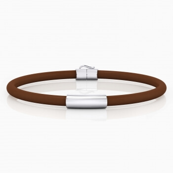 Silver bracelet with brown leather cord.