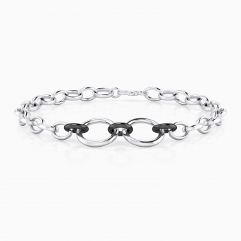 Silver men bracelet with three black rhodium plated rings.