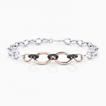 Silver men bracelet rings with color combination.