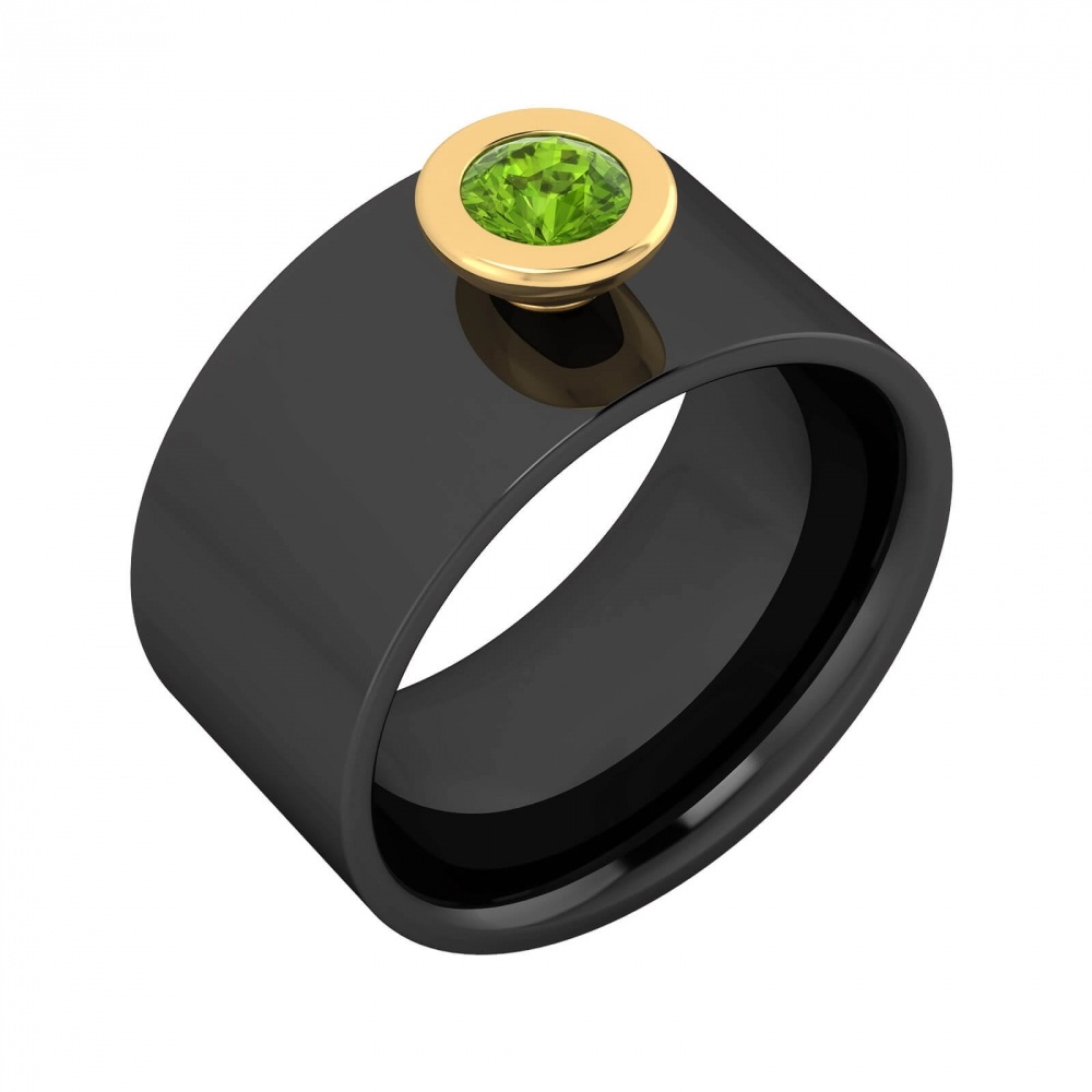 Men rings | Diamond Ring 18k black gold with 1  peridot  green colour
