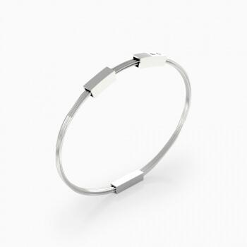 Men's silver bracelets with 2 brilliant cut diamond