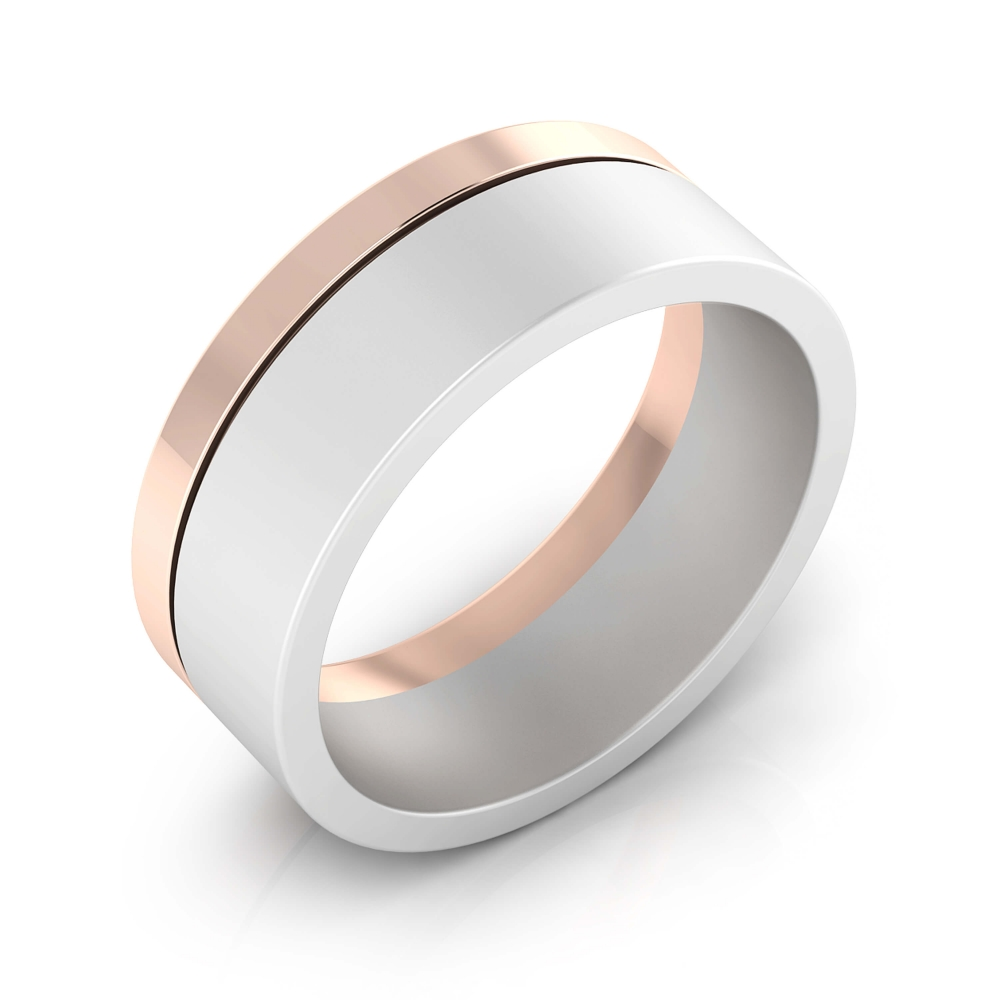 Men ring 18 k white and pink gold.