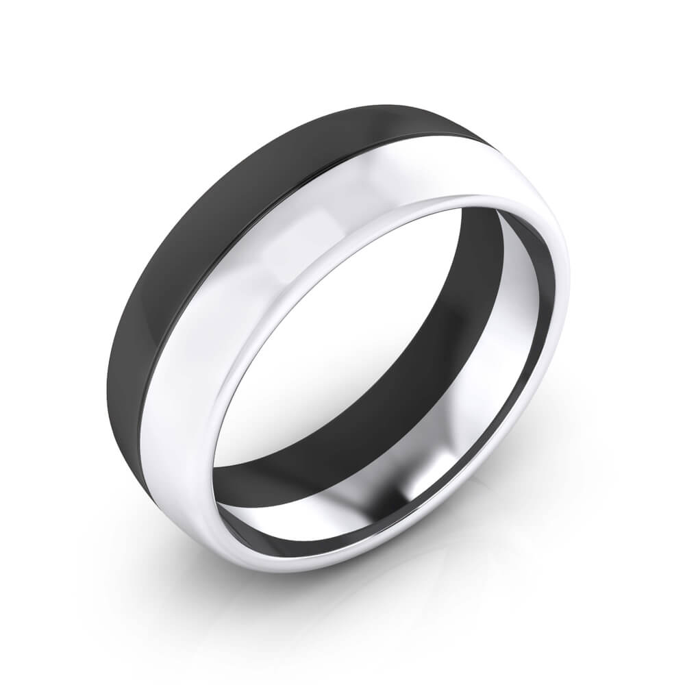 Men Ring, 18 k white gold and black rhodium