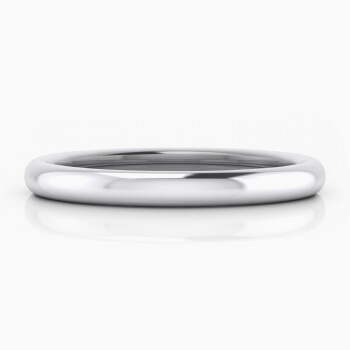 Men classic wedding ring, in white gold, half reed style.