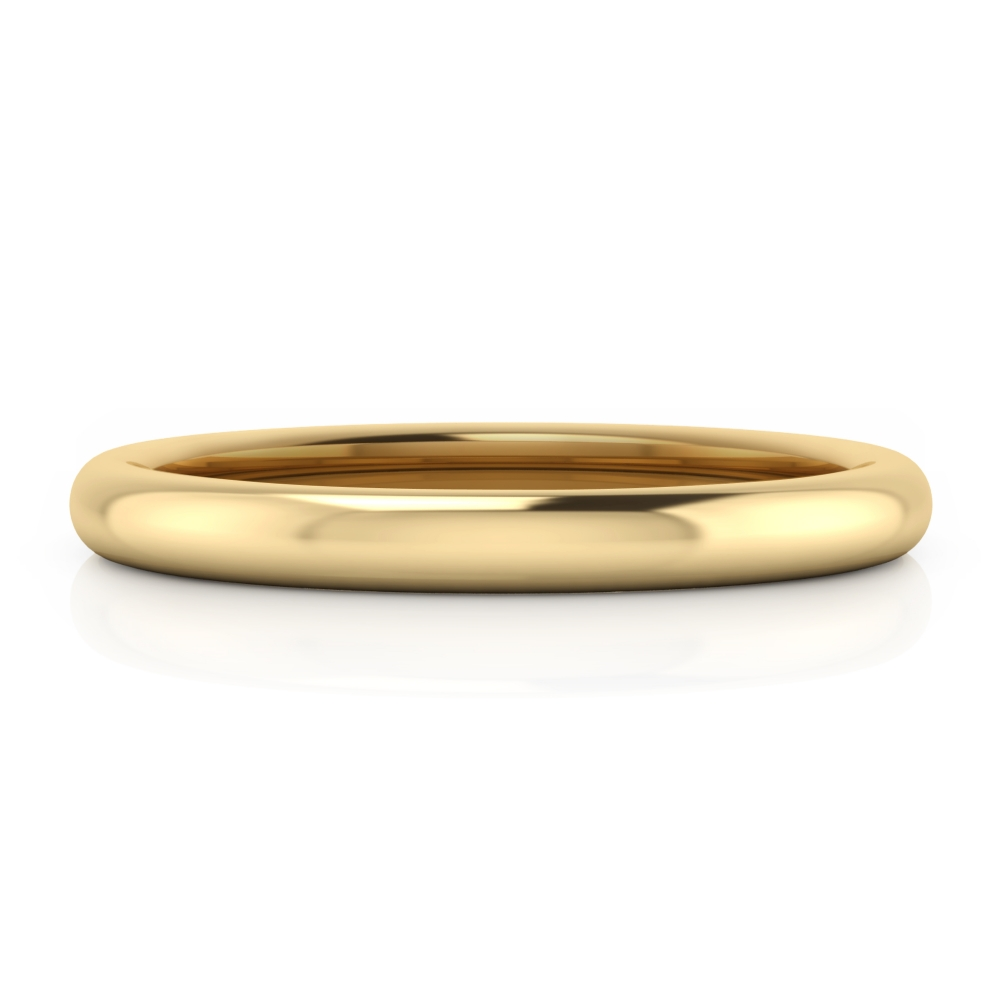 Men classic wedding ring, in yellow gold, half reed style.