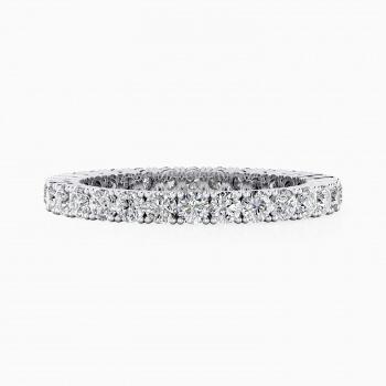 Alianza de boda de oro blanco y diamantes