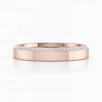 Alianza de boda de oro rosa y diamantes para hombre