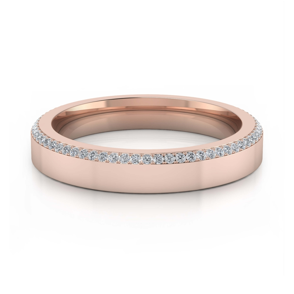 Alianza de matrimonio de oro rosa y diamantes para hombres