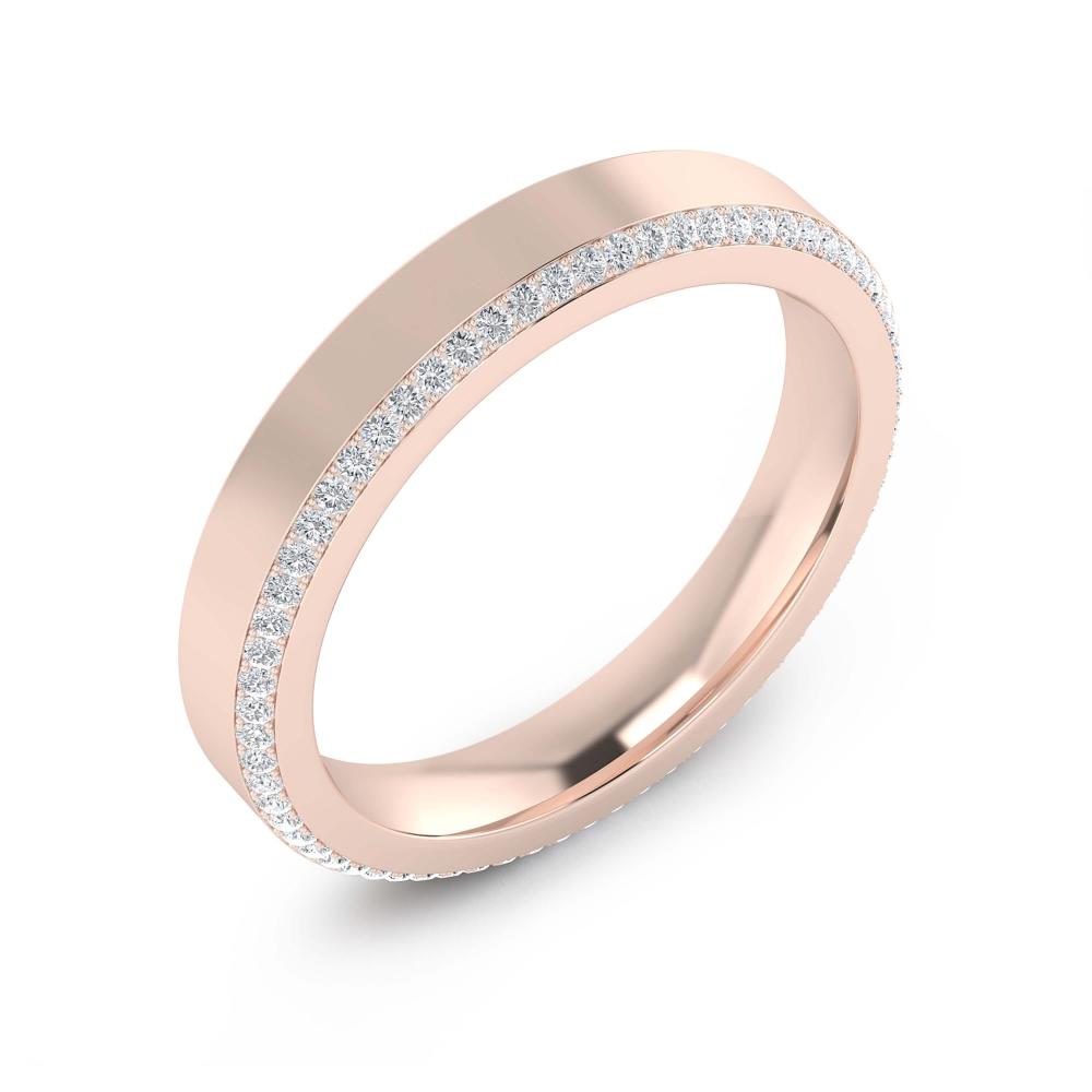 foto de perfil de alianza de boda en oro rosa y diamantes para hombre