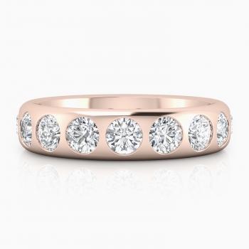 Alianza de boda de oro rosa de 18k con diamantes