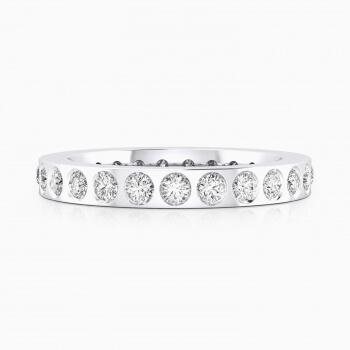 Wedding bands 18k white gold 22 brilliant cut diamond