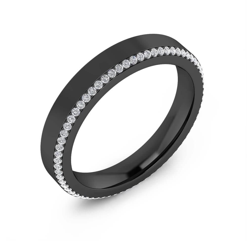 Wedding Ring 18k black gold with 68 diamonds