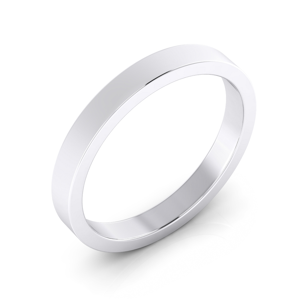 Men wedding ring, flat surface, made of 18K white gold.