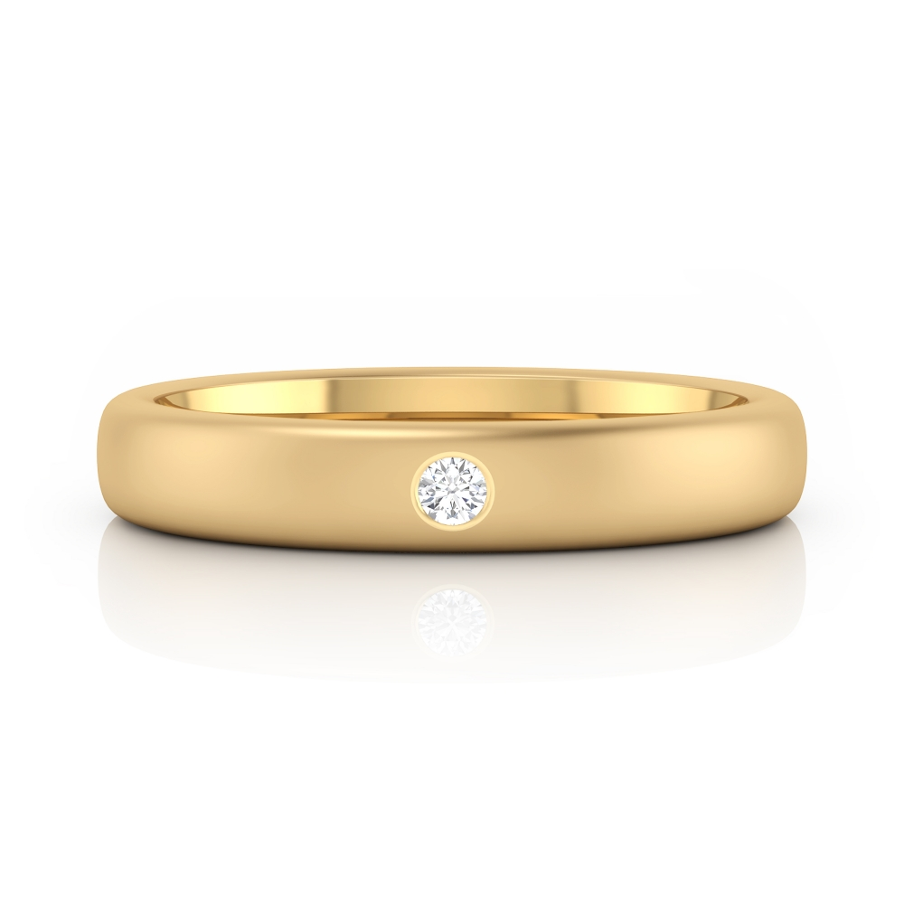 Wedding ring 18k yellow gold with 1 diamond