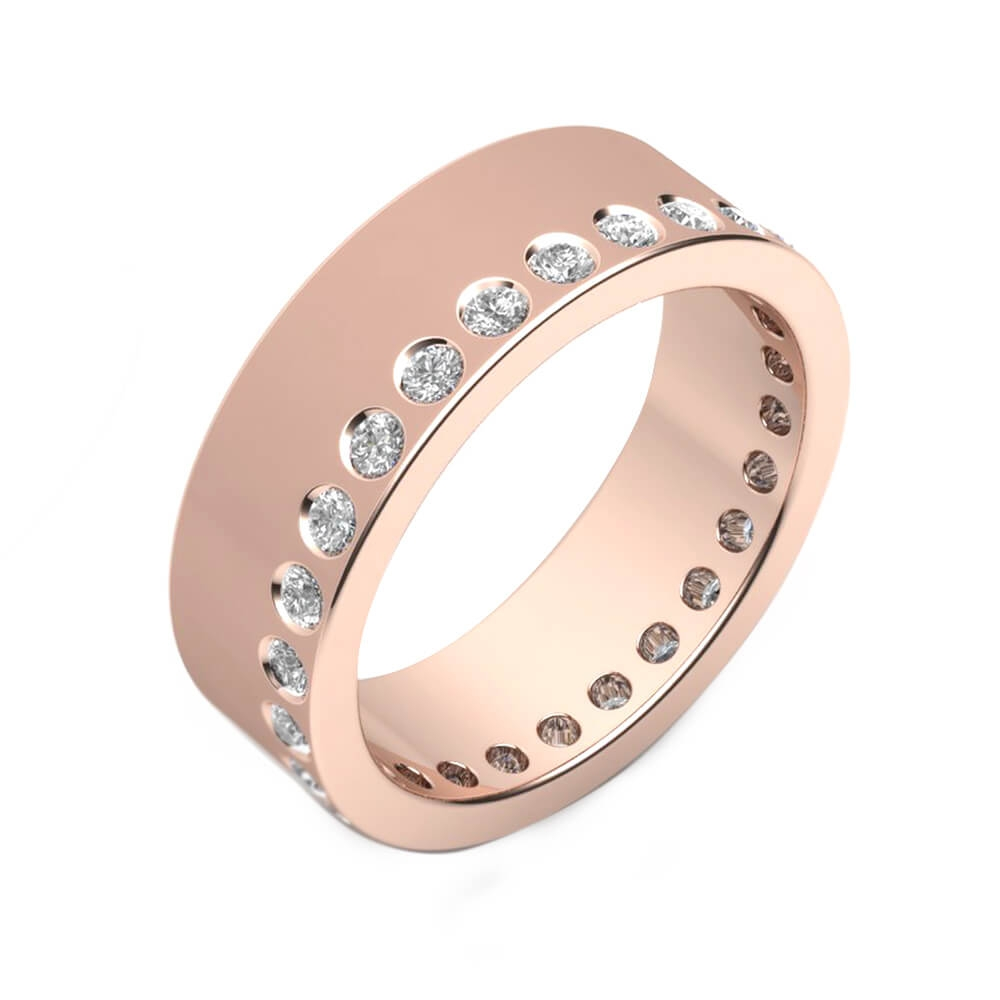 Wedding Ring 18k pink gold and 26 brilliant cut diamond