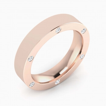 Wedding Ring 18k pink gold with 6 brilliant cut diamond