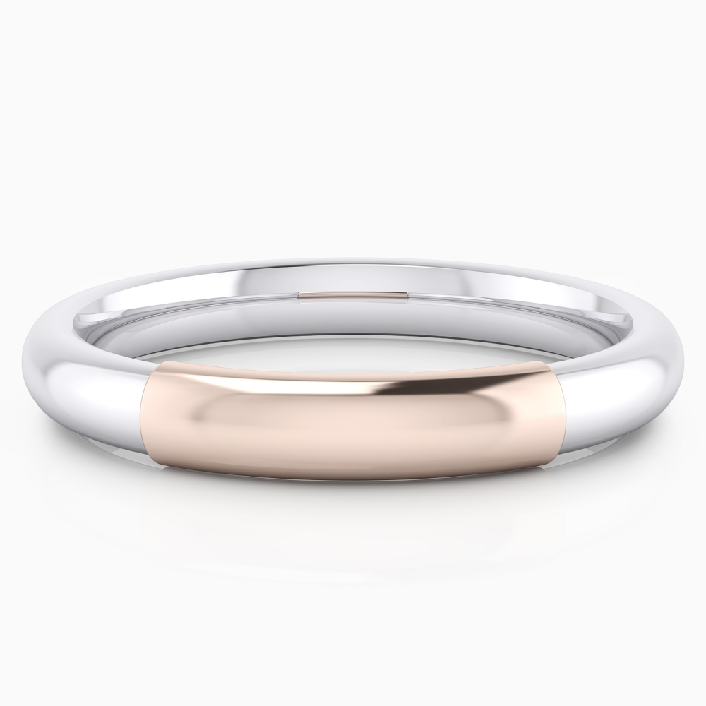 Wedding ring, for him, made of white and pink gold,  half reed style.
