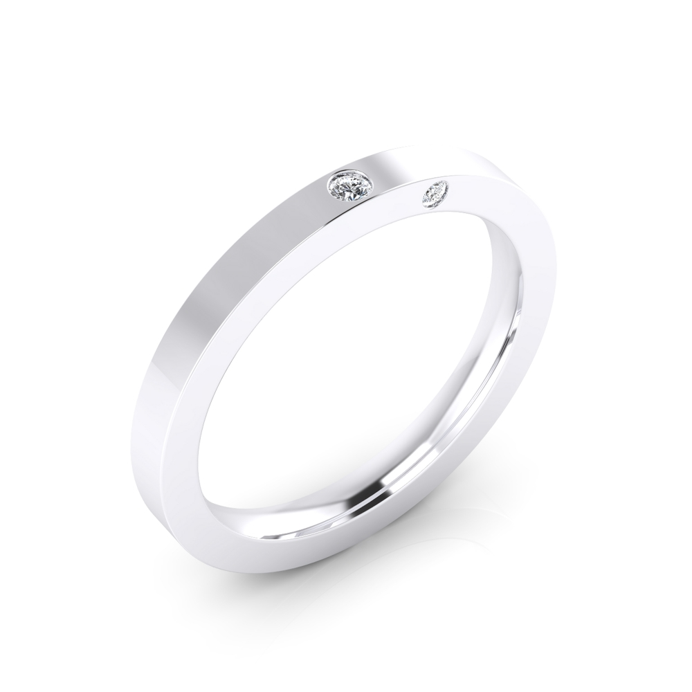 Wedding Ring 18k white gold 1 brilliant cut diamond