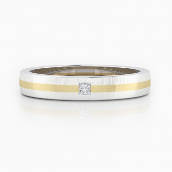 Wedding Ring 18k yellow gold with 1 princess cut diamond