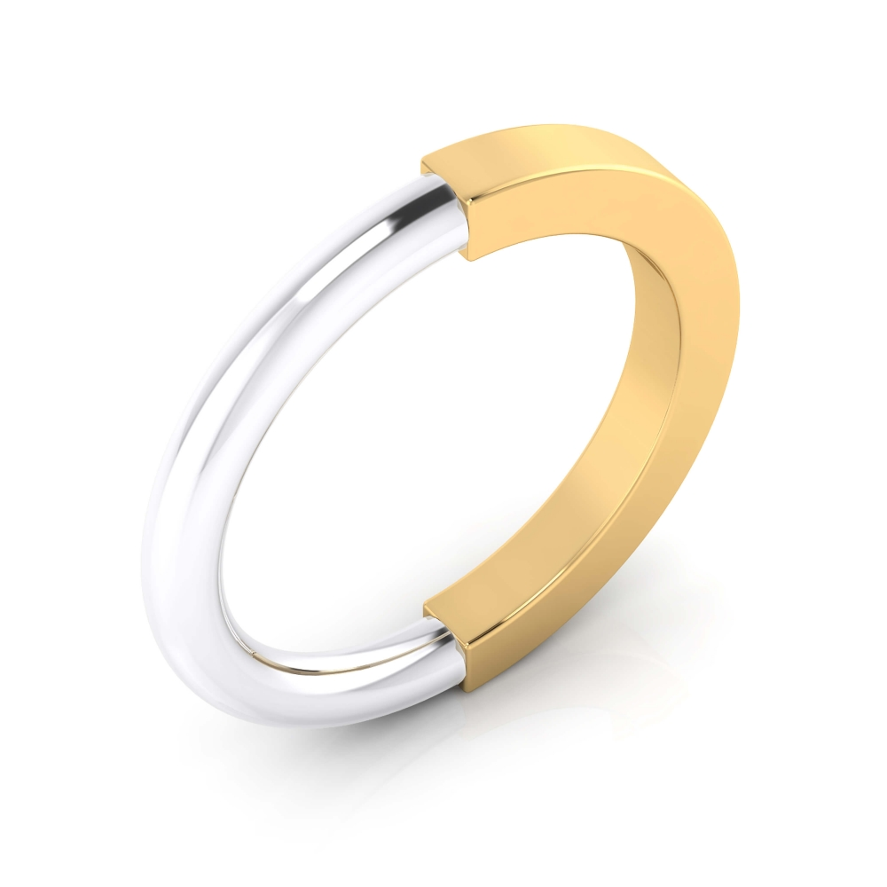 Wedding Ring 18k yellow and white gold shiny