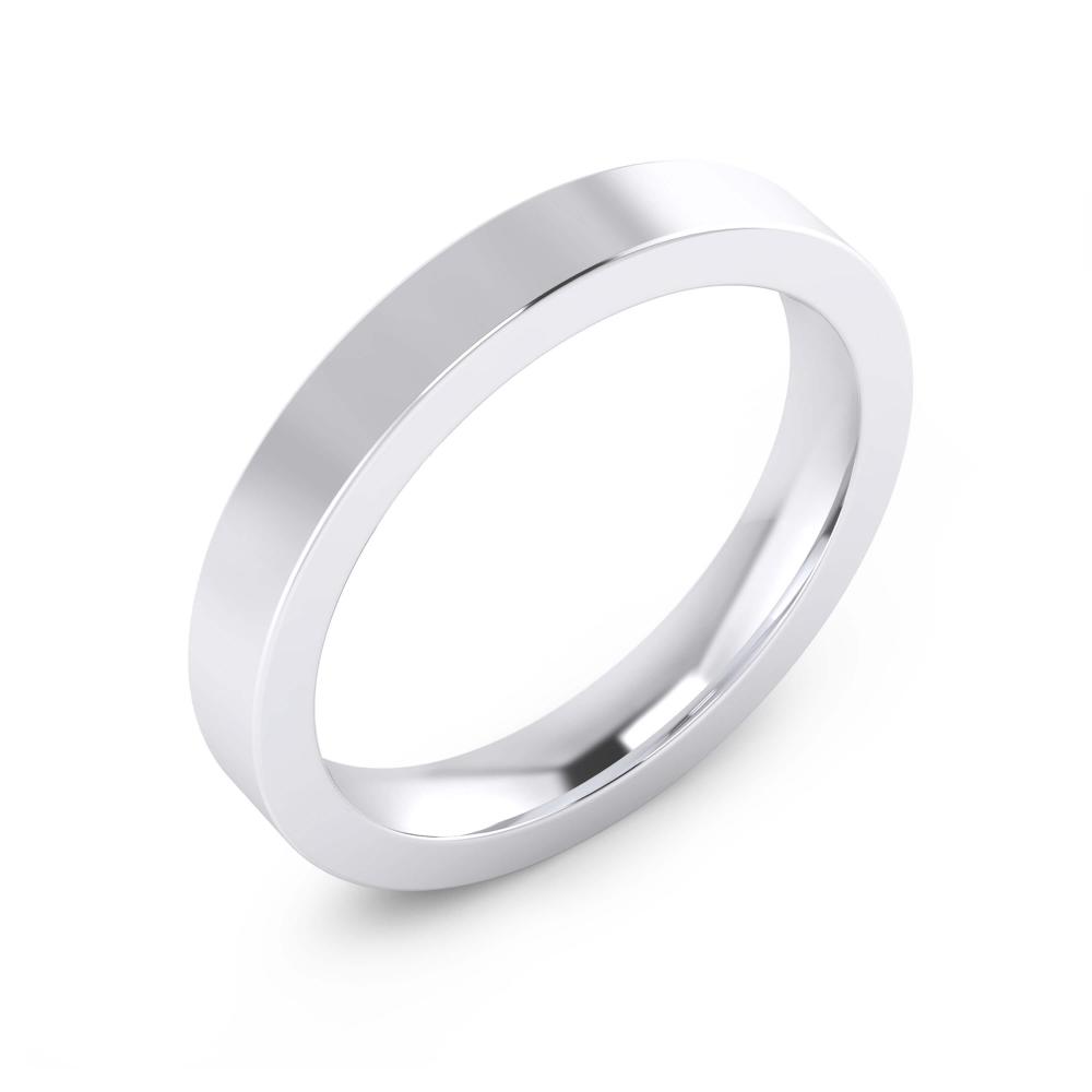 foto de perfil de alianza de boda de oro blanco de 18k para hombre