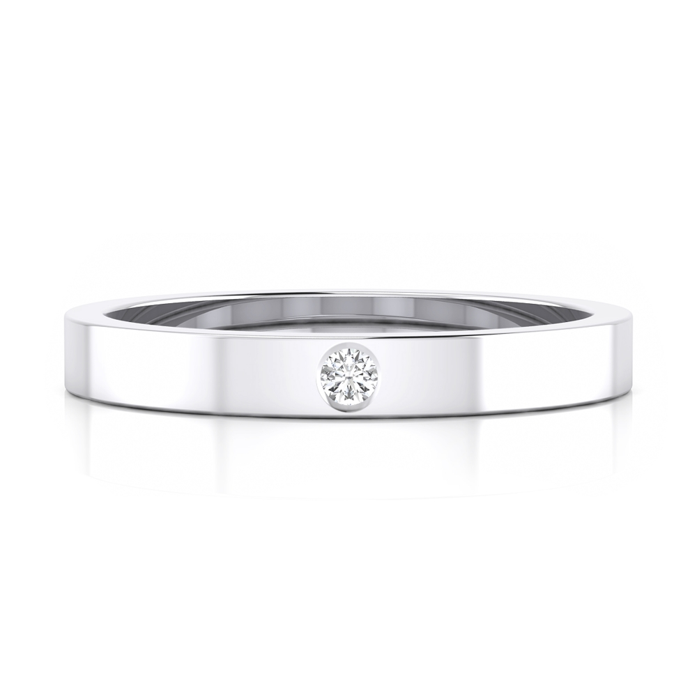 Wedding ring, with flat surface and a central brilliant-cut diamond.