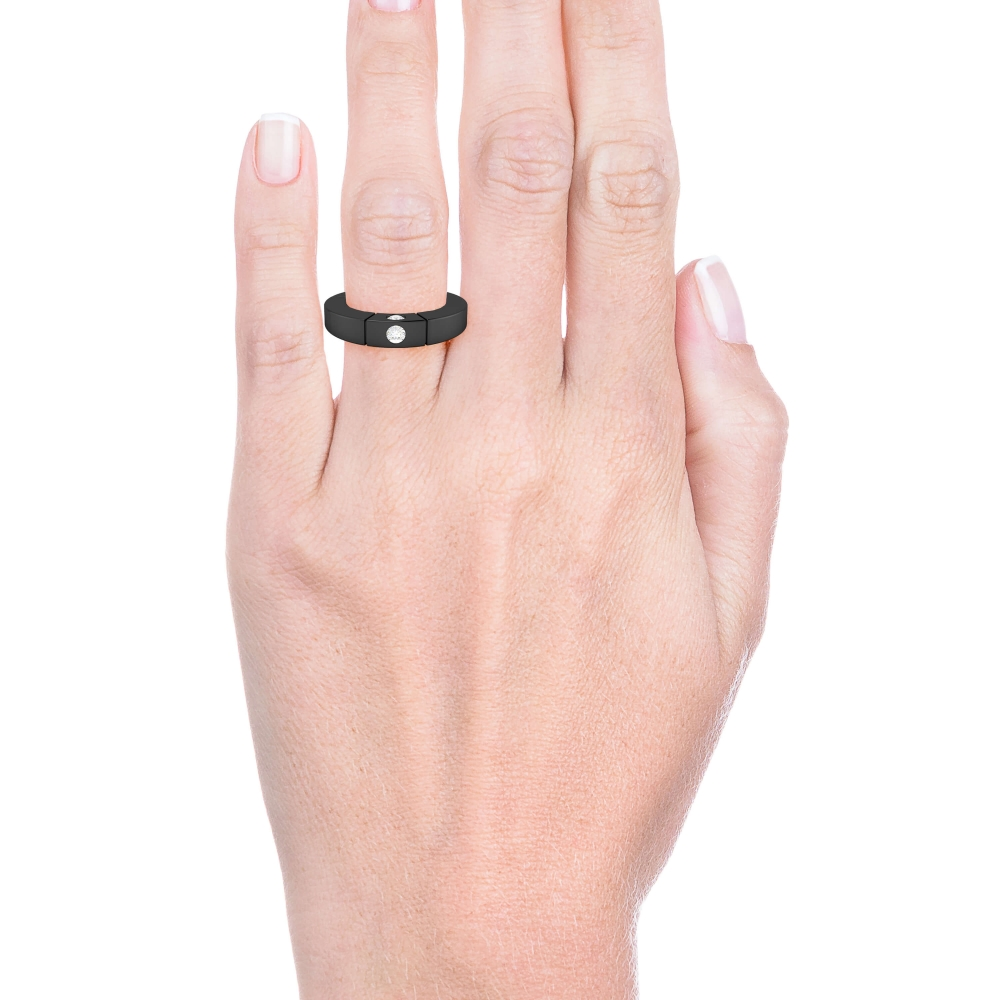 Alianza de boda de oro negro de 18k con 3 diamantes