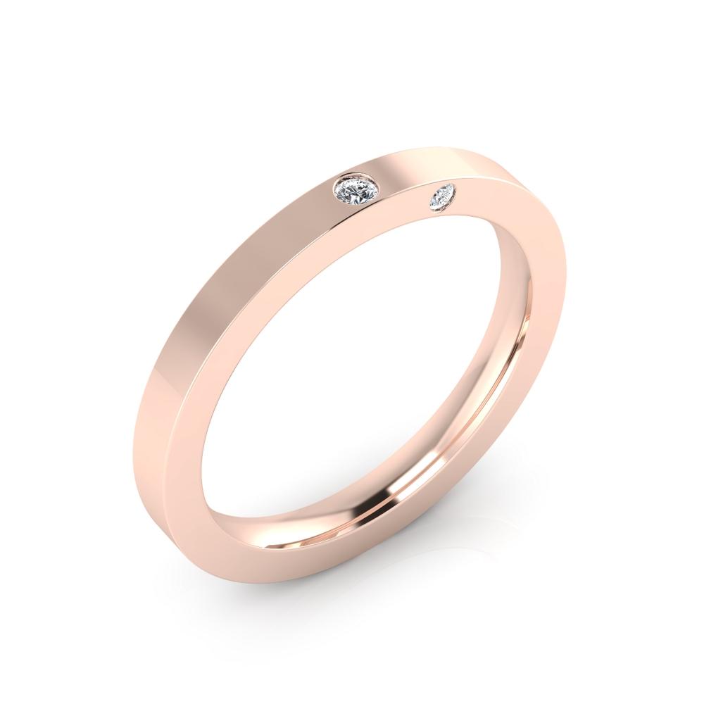 Alianza de boda realizada en oro rosa de 18kt acabado brillante