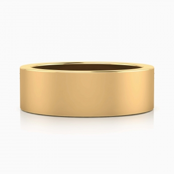 Alianza de boda de oro amarillo plana para hombre