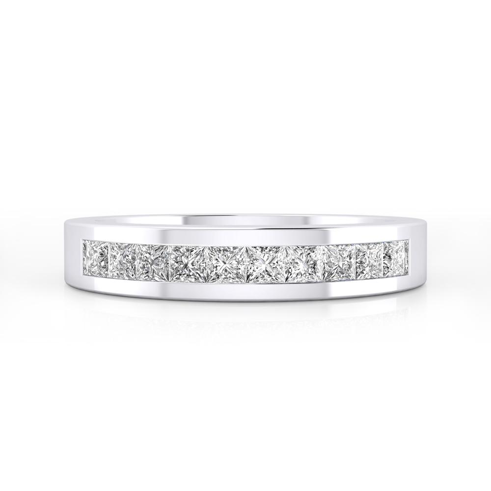 Alianza de boda de oro blanco y 10 diamantes