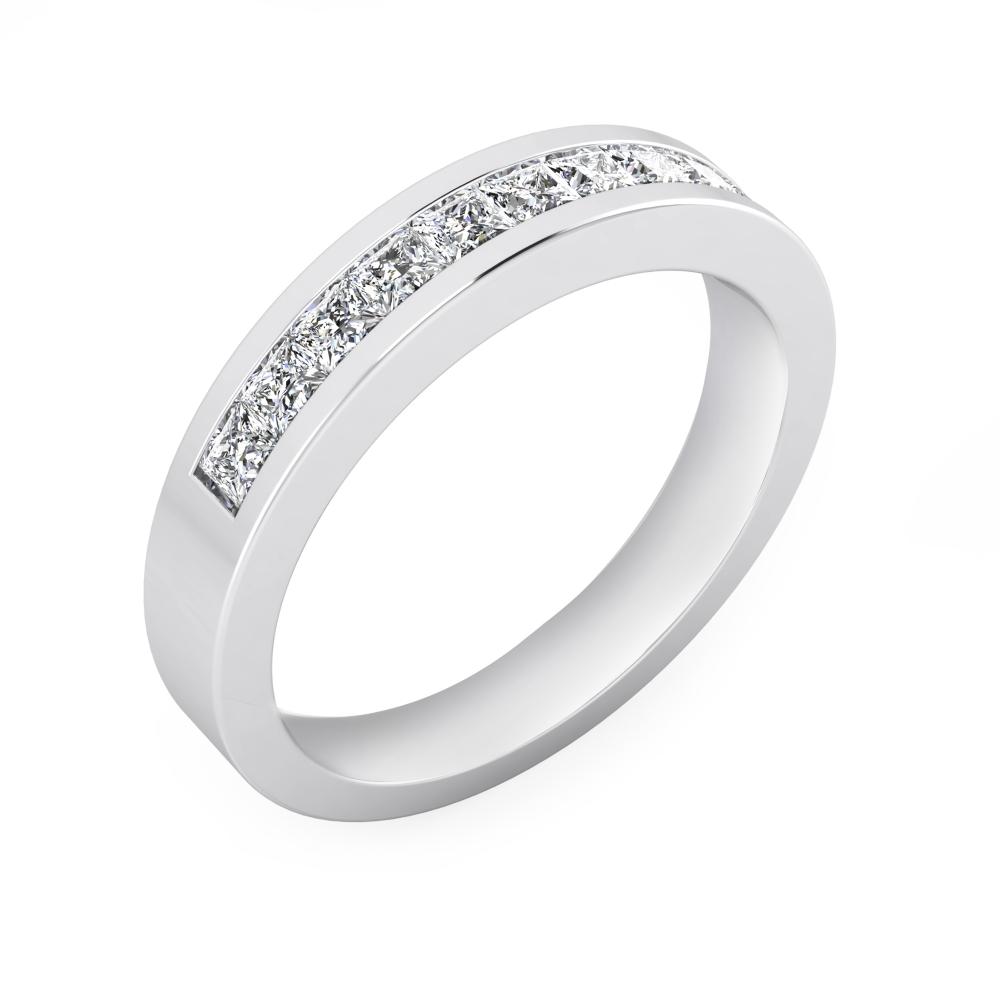 Alianza de boda de oro blanco de 18 k y 10 diamantes