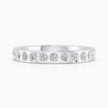 Alianza de boda de oro blanco y 14 diamantes