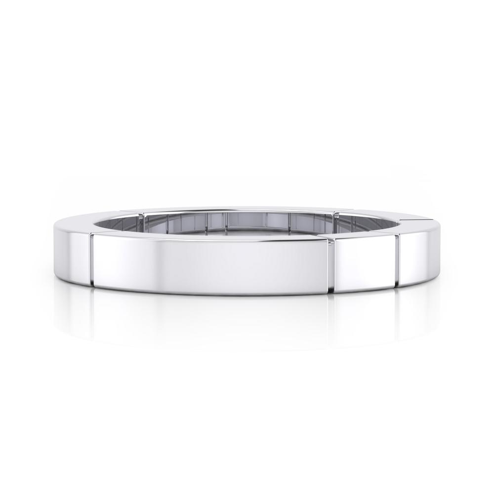 anillo de boda plano de oro blanco