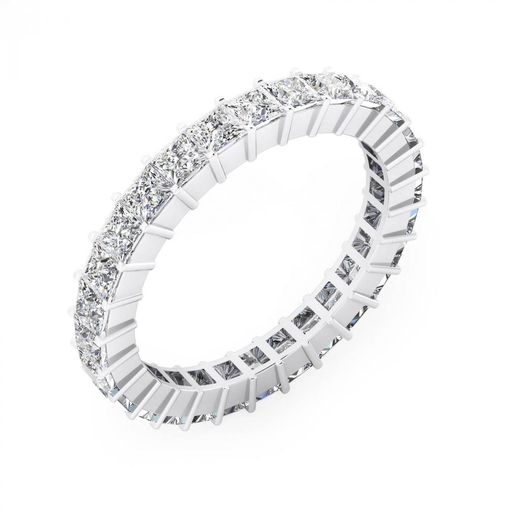 Alianzas de boda de oro blanco de 18k con 31 diamantes