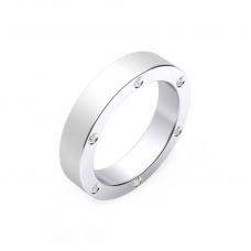 Alianza de boda de oro blanco y 6 diamantes
