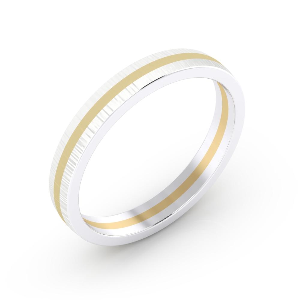 Alianza de compromiso masculina realizada en oro blanco