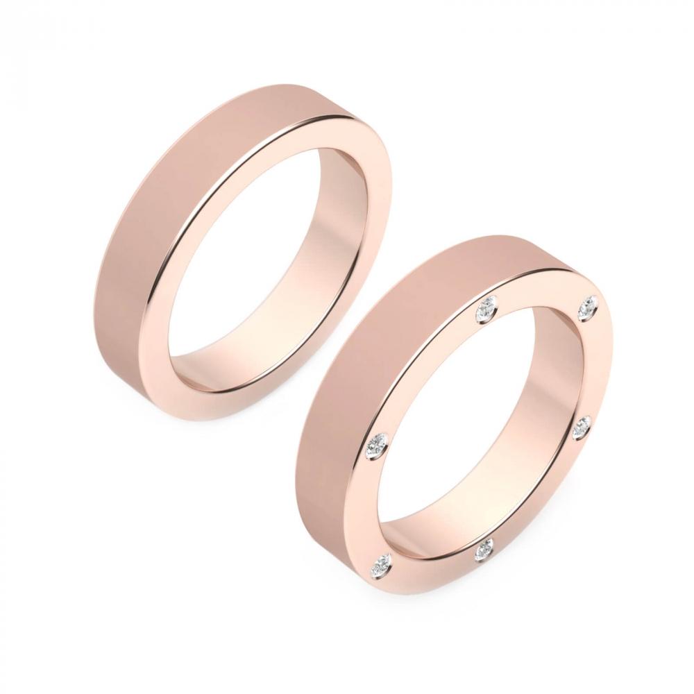 Alianza de boda para hombre de oro rosa