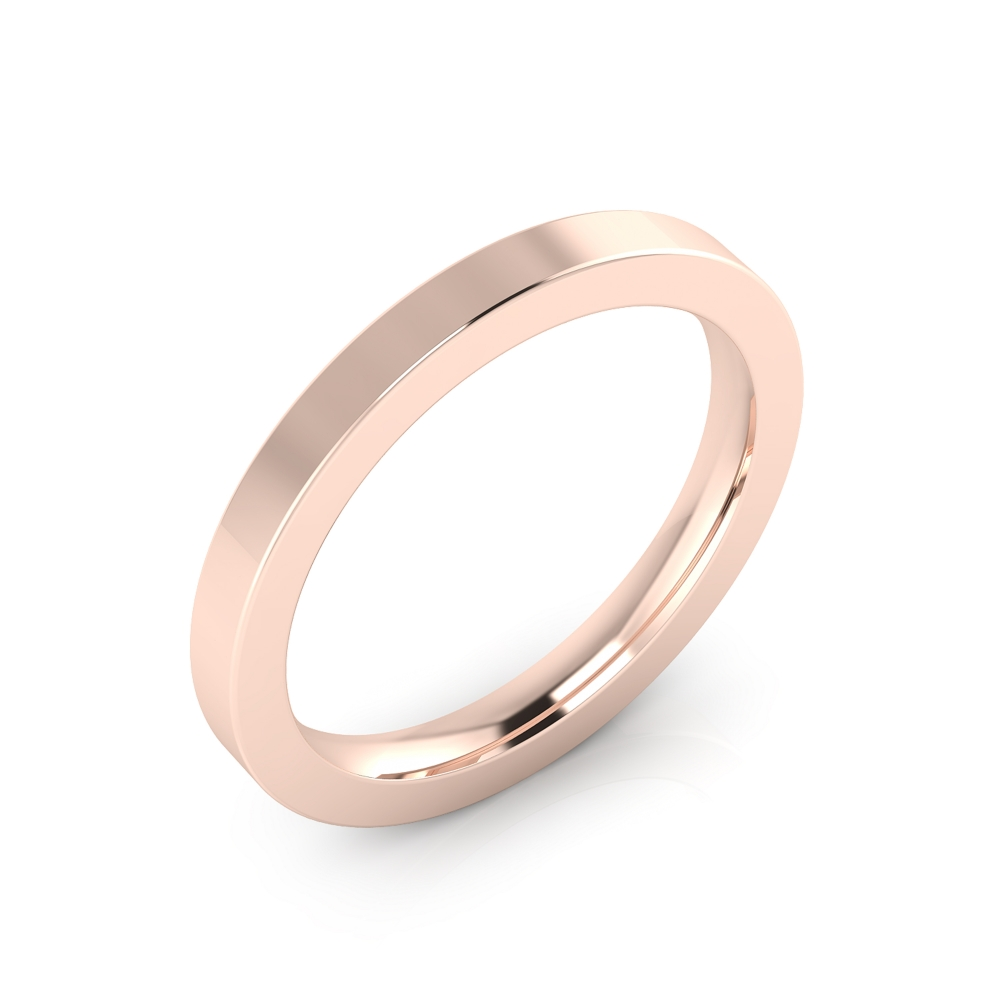 Alianza de boda realizada en oro rosa de 18kt con acabado brillante