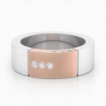 Alianza de boda de oro blanco y de oro rojo de 18k con 6 diamantes