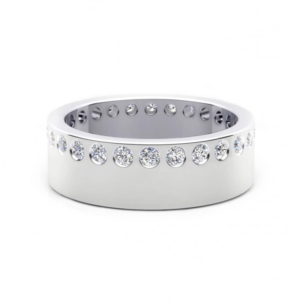 Alianza de boda de oro blanco y 26 diamantes