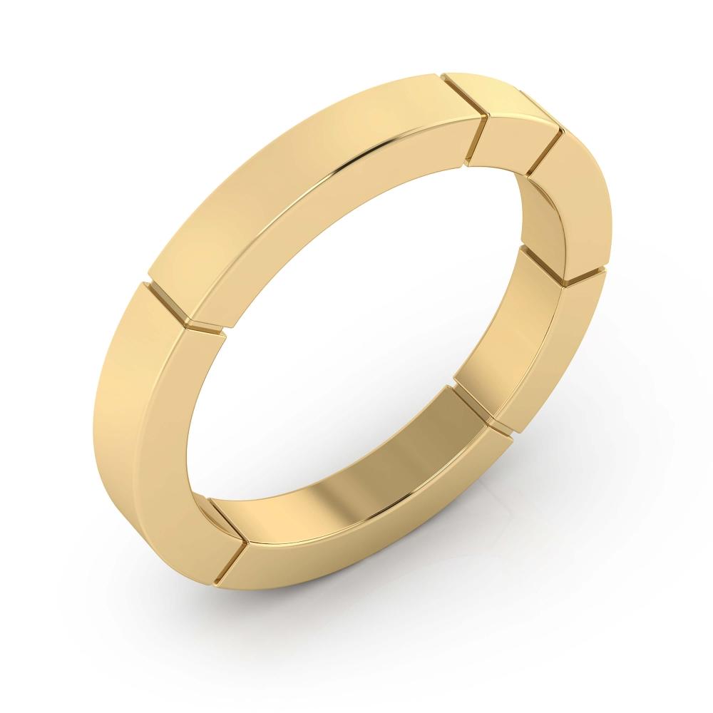 Alianza de boda de oro amarillo y acabado brillante