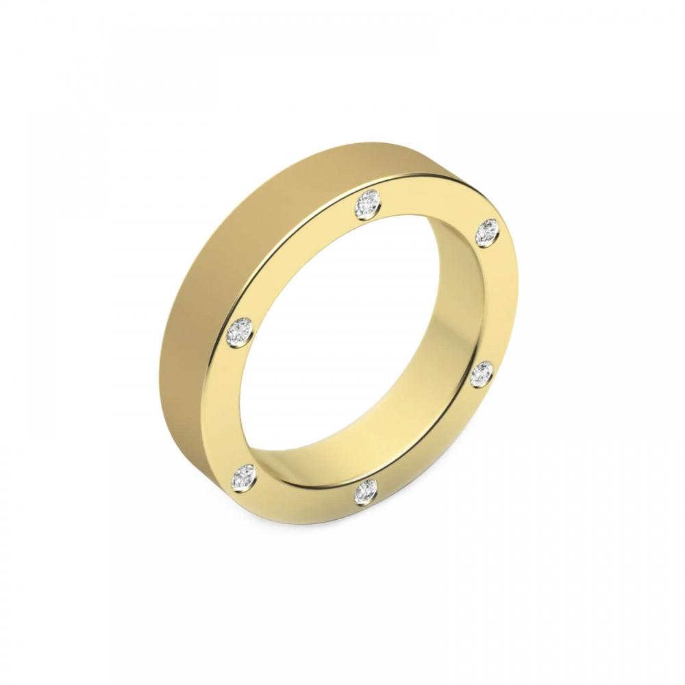 Alianza de boda de oro y 6 diamantes