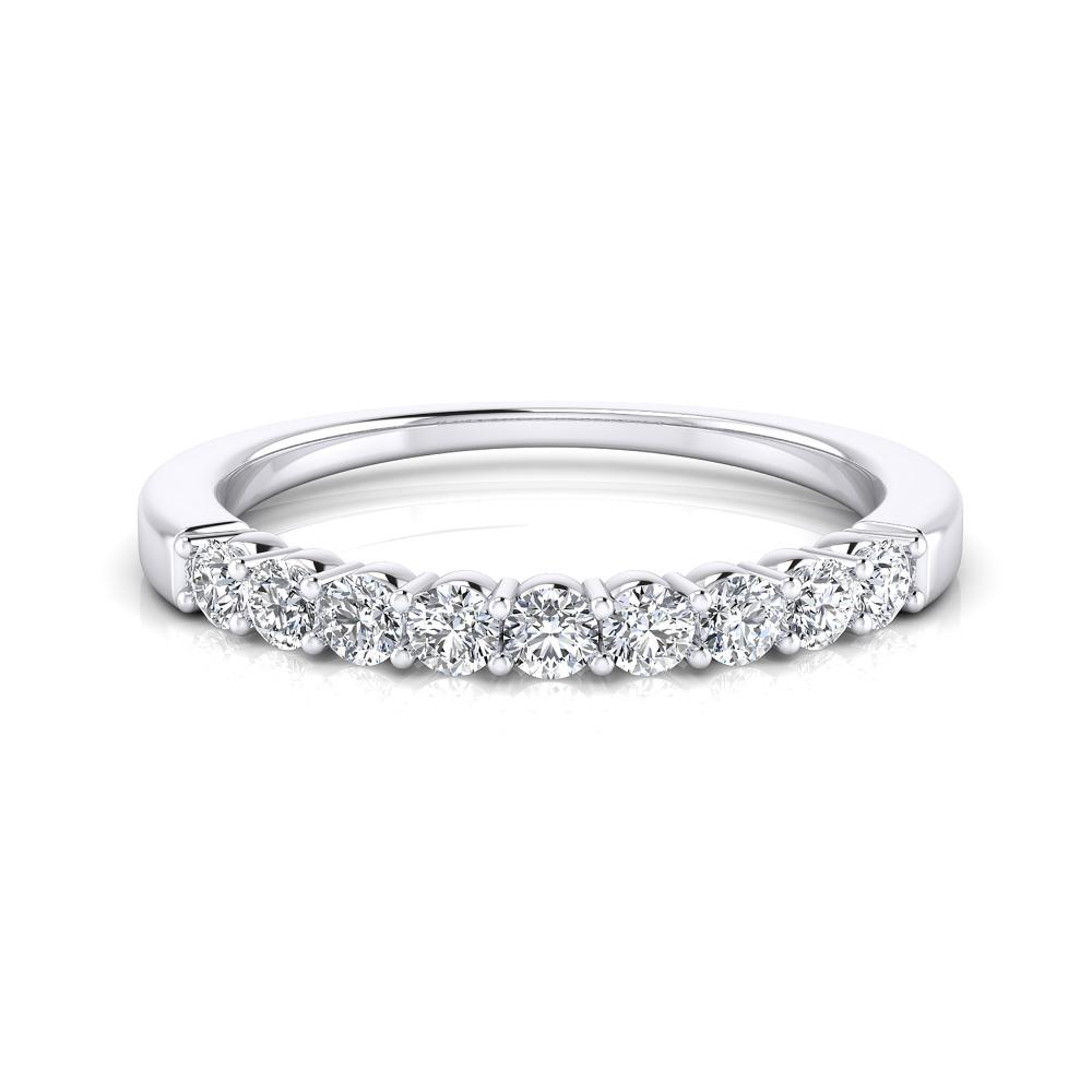Media alianza de diamantes realizada en oro blanco de 18K