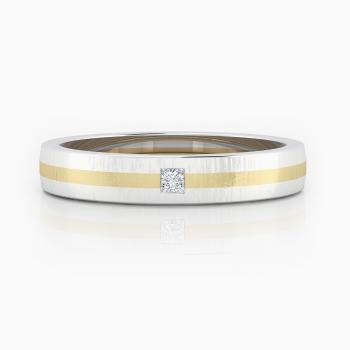 Alianza de compromiso de oro blanco y amarillo y diamante talla princesa