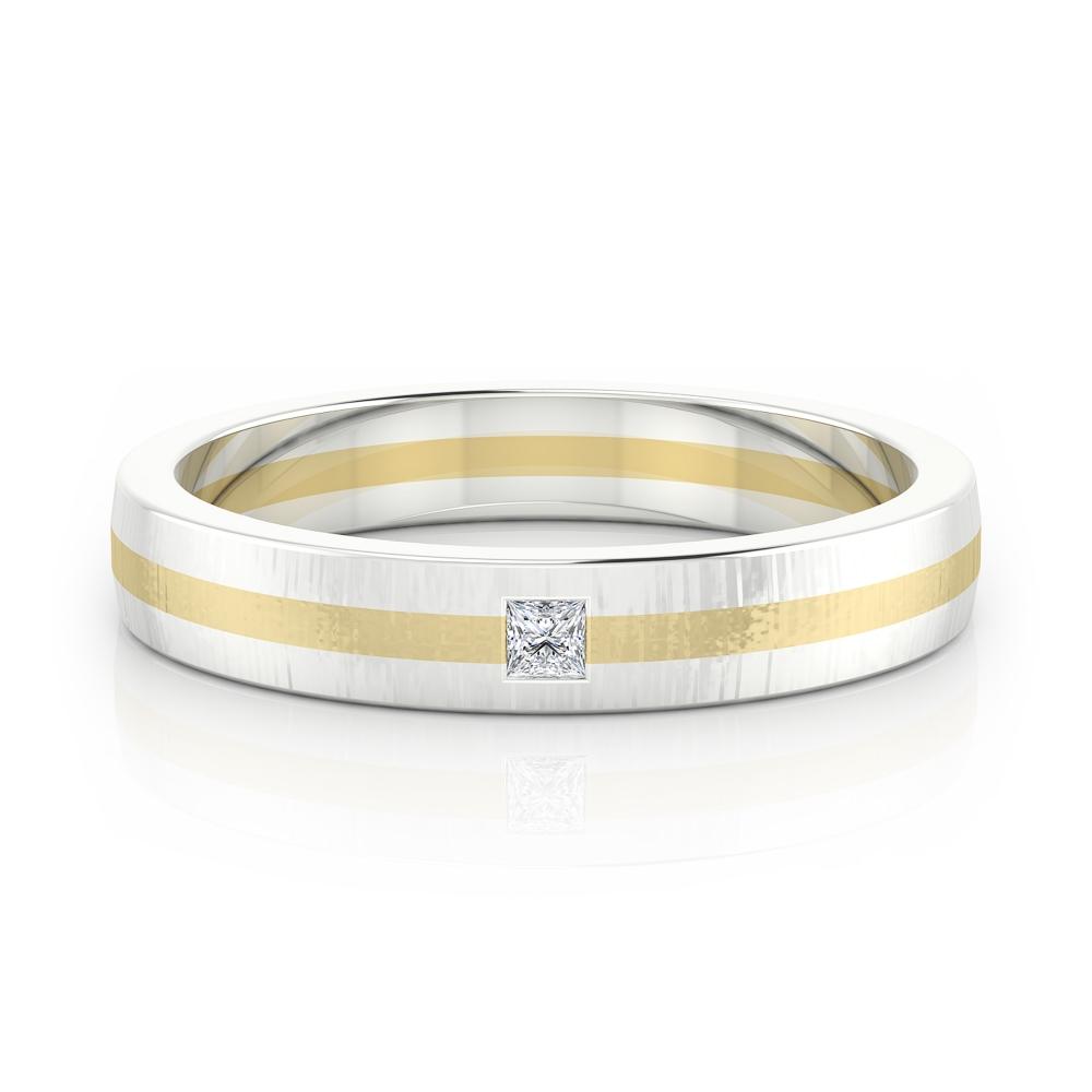 Alianza de compromiso en oro blanco y oro amarillo y diamante talla princesa